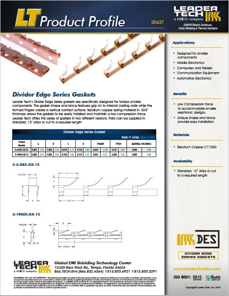 Divider Edge Series Gasket Product Profile